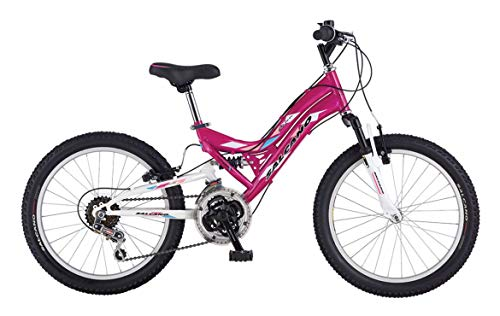 Salcano Helen 24″ Wheel Dual Full Suspension Girls Mountain Bike Dark Pink/White 21 Speed Age 8+