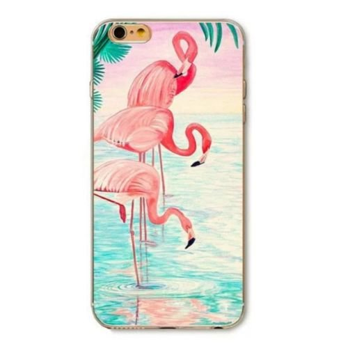 iPhone 7 Plus, Fruit Surprises Colorful Rubber Flexible Silicone Case Bumper for Apple Clear Cover - Flamingo Trio Beach Time