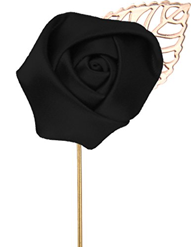 - Flairs New York Gentleman's Essentials Premium Handmade Flower Lapel Pin Boutonniere (Pack of 1 Pin, Midnight Black [Rose Gold Leaf])