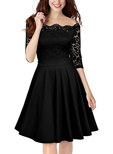 Satin Suit Floral Skirt (MISSMAY Women's Vintage Floral Lace Half Sleeve Off Shoulder Party Formal Swing Dress)