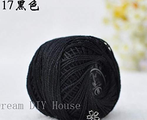 Zamtac 10 Rolls Black Color 9s/2 100% Cotton Stitch Embroidery Thread Crochet Thread Hand Cross Embroidery Thread