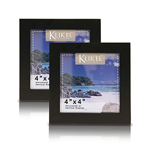 Klikel Black Picture Frame | Set of 4 Wooden Photo Frames in 4x4 Inches | for Family Graduation Grandpa Picture Frames | Wall Hanging and Table ()