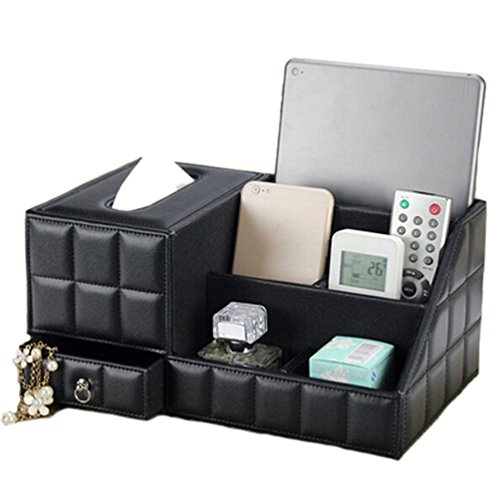 JHGJ PU Leather Storage Box Tissue Box for Remote Control / Controller TV Guide / Mail / CD Organizer / Caddy / Holder / Cosmetic (Black) by JHGJ