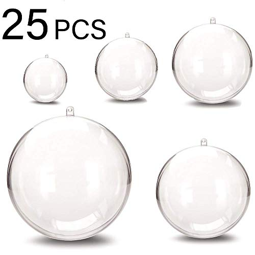 Acrylic Clear Christmas Ball Ornaments, DIY Bath Bomb Mold, Bath Bomb molds, Craft Plastic Ball Ornament for Wedding Party Christmas Decor with 5 Size 1.18 inch,1.57 inch,1.96 inch, 2.36 inch - 25 Pcs -