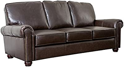 Abbyson Living Bellagio Leather Sofa in Brown