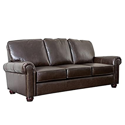 Abbyson London Top Grain Leather Sofa In Dark Brown