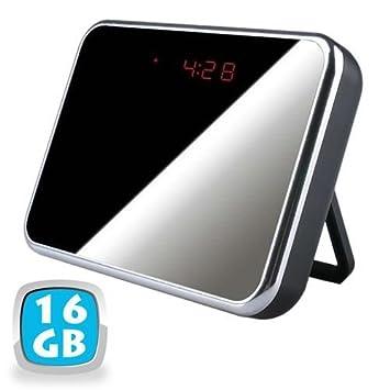 Reloj despertador con cámara espía Espejo 16 GB detector movimiento HD 1280 x 960P - Yonis: Amazon.es: Electrónica
