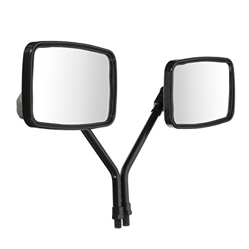 CoCocina 10mm Thread Black Rectangle Rear View Side Mirrors For Motorcycle Scooter ATV