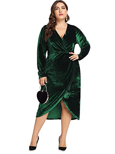 ESPRLIA Women's Empire Waist Plus Size Maxi Dress (Green, 14W)