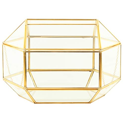 Koyal Wholesale Geometric Glass Wedding Card Gift Box Holder, Reception Drop Box, Modern Lantern Table Décor, Geometric Wedding Decor, Terrarium Planter (Gold, 12 x 9-Inch) from Koyal Wholesale