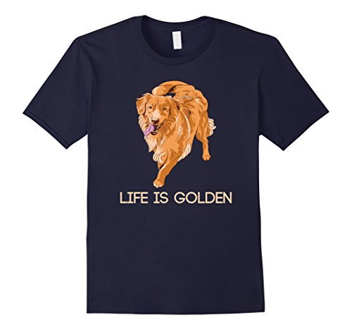 Mens Life is Golden Retriever Dog T-Shirt Medium Navy