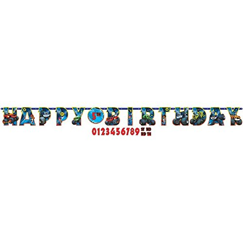 Amscan Boys Rockin' Blaze & the Monster Machines Birthday Party Jumbo Add an Age Letter Banner (1 Piece), Multicolor, 10 1/2' x (Happy Machines)