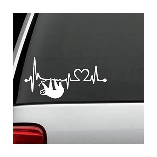 Bluegrass Decals K1092 Sloth Heartbeat Lifeline Heart Love Decal Sticker -