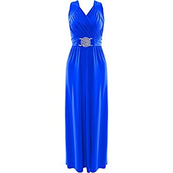 Womens Plus Size Buckle Waisted Tie Back Evening Long Maxi Dress (16/18,  Royal Blue)