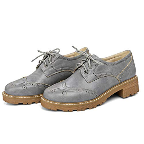 Women¡¯s Oxford On Heel Toe Oxfords Low Vintage Round Lace Shoes Gary Shoes up Slip Flat Oxford zwU8zr