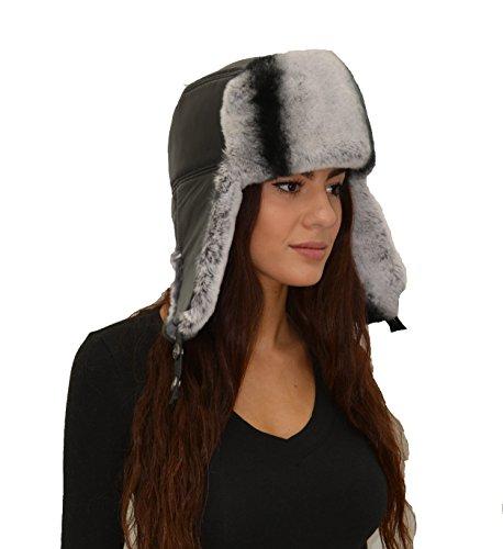 (Leather Trapper Hat with Rex Rabbit Fur Trim)