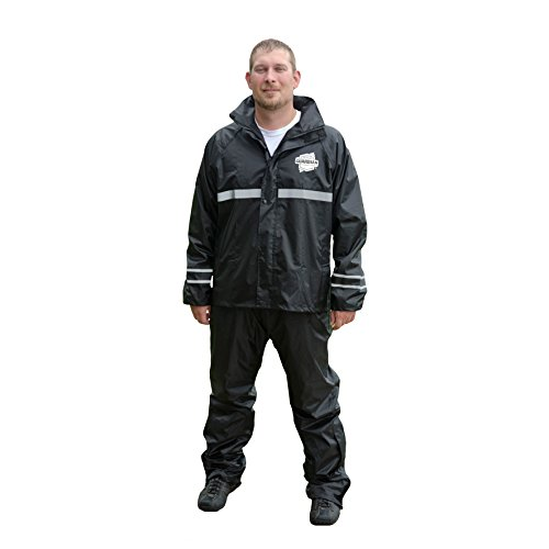 Leather Deluxe Jacket (Dowco Guardian 26049-00 Deluxe Water Resistant Reflective Rain Suit, Black, X-Large)