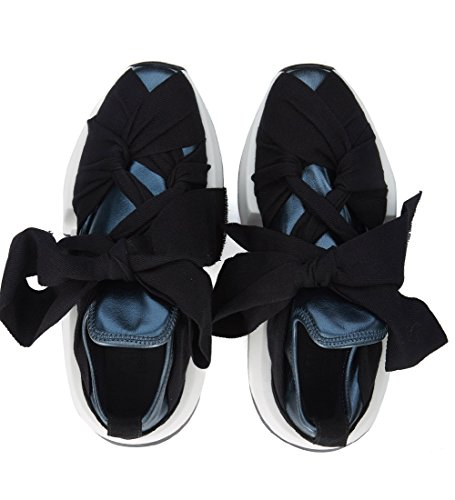 MM6 Maison Margiela Women's Blue Faux Leather and Black Fabric Sneakers Black