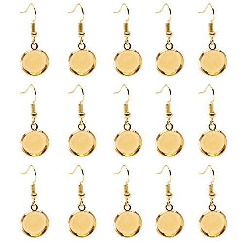 - Forise 24pcs Gold Plated Earrings Blank Base with Earring Hook and 12mm Cabochon Settings Trays Fit for DIY Jewelry Making Earring