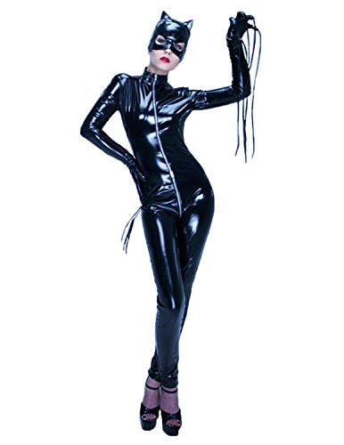 Quesera Women's Catsuit Bodysuit Full Body One Piece Zip Up Front Catwoman Costume, Black, (Latex Catwoman Suit)