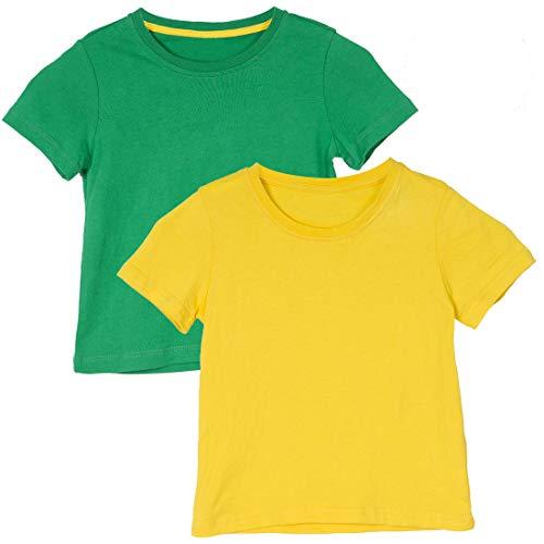 Holy Unicorn Toddler Girls' Boys' Short-Sleeve T-Shirt 2-Pack Size 4t Green Yellow (T-shirt Short Full Sleeve)
