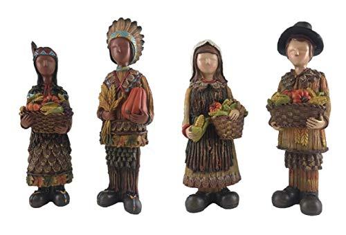 - Gerson Native American & Pilgrim Children Faceless Thanksgiving Figurines - Set of 4