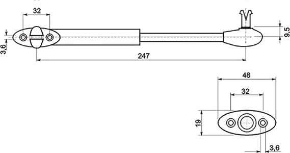 2 X Mprofi MT/® Piston A Gas Para Mueble neum/ático Amortiguador de gas para gabinete 100 Nm