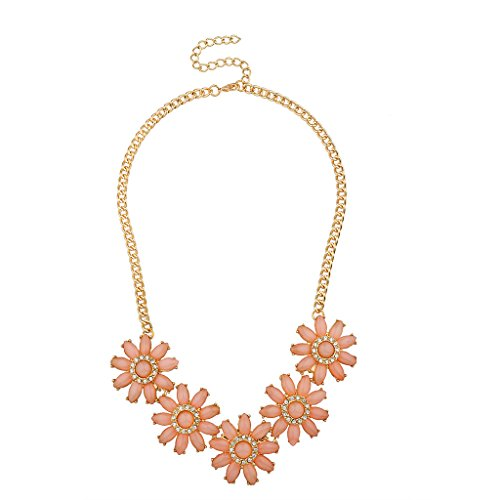 Lux Accessories Peach Pave Crystal Floral Flower Statement for sale  Delivered anywhere in USA