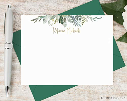 SERENITY - Personalized Flat Floral Womens Stationery/Stationary Set