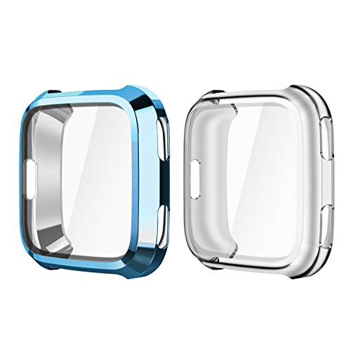 Fintie Compatible Fitbit Versa Case [2-Pack ], Soft TPU Plated Screen Protector Rugged Cover All-Around Protective Bumper Shell for Fitbit Versa Smartwatch, Blue, Clear