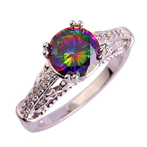 PAKULA Silver Plated Women Simulated Rainbow Topaz Cathedral Band Cocktail Stacking Ring