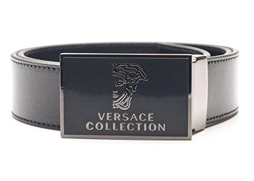 Designer Belt Buckle (Versace Men's Collection Leather Belt with Signature Buckle And Silver Half Head Detailing, Black,)