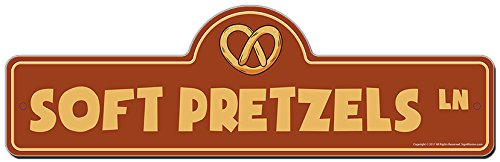 Soft Pretzels Street Sign | Indoor/Outdoor | Funny Home Décor for Garages, Living Rooms, Bedroom, Offices | SignMission Personalized Gift