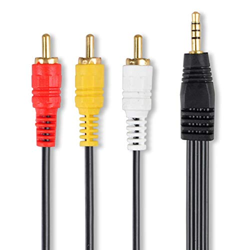 Male to Triple 3 RCA Audio/Video Male Composite Stereo Splitter Cable Adapter ()