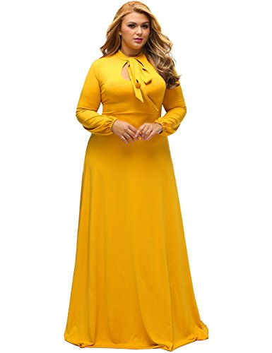 Lalagen Women's Vintage Long Sleeve Plus Size Evening Party Maxi Dress Gown Yellow L (Formal Vintage Gowns)