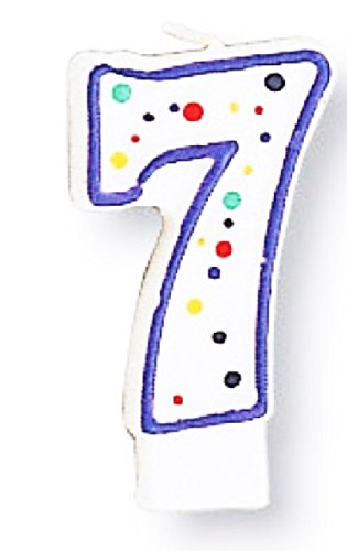Creative Converting CANDLE-4566 Polka Dot 7 Numeral Candle 2.87-Inch x 1.5-Inch 104566