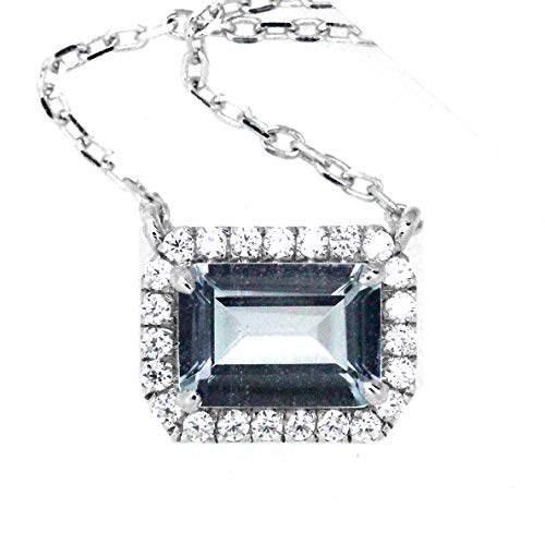 (Bylove Jewelry Sterling Silver Emerald Cut Natural Aquamarine Halo Design Pendant Necklace 18