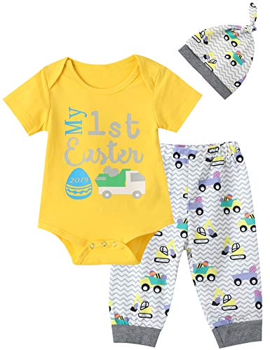 Mutiggee My First Easter Day 2019 Outfit Set Baby Boy Girls Pant Clothing Sets (3-6 Months, Yellow)]()
