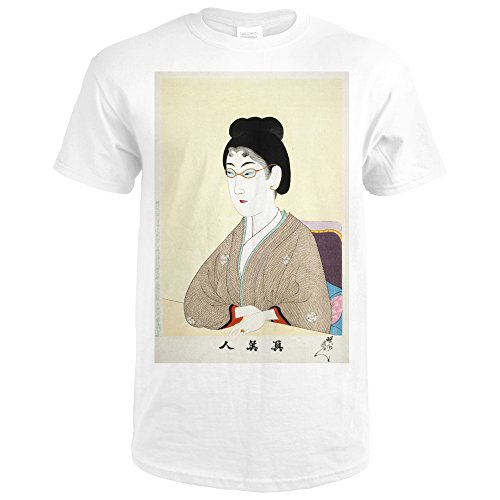 Woman Wearing Wire Spectacles Japanese Wood-Cut Print (Premium White T-Shirt - Japanese Spectacles