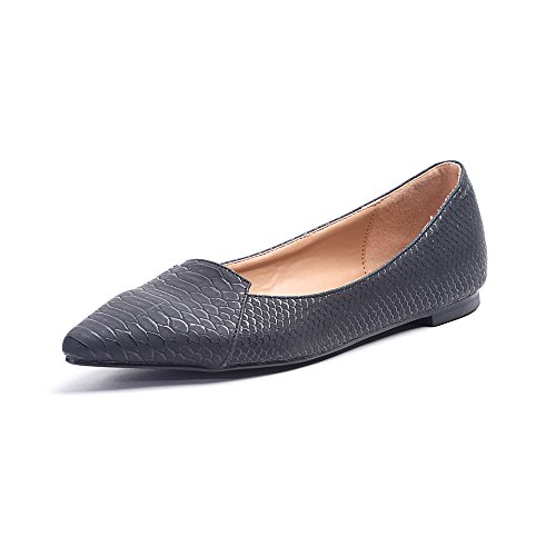 Alexis Leroy - Fashionable Snakeskin Pattern Pointed Toe Low Top Ballet Flats para mujer Gris