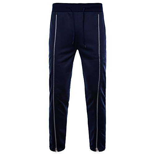 ANJUNIE Mens Feet Casual Althletic Trousers Side Zippers Large Size Sports Pants(1-Navy,S)
