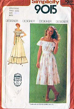 Simplicity 9015 Gunne Sax By Jessica Ruffled Dress in Two Lengths, Vintage 1979