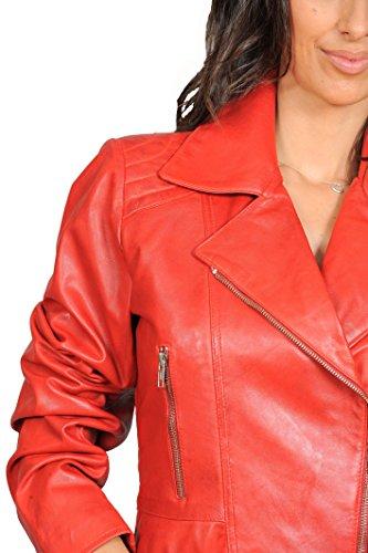 Mary Dans Goods Fashion Veste Ceinturé A1 Manteau Couleurs De Cuir Biker Rouge Style Italien Ajusté Gamme Mesdames xZ7wCdqw