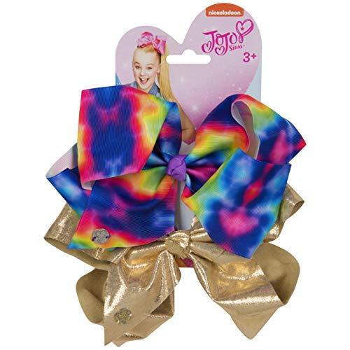 Purple Black JO 2 Large Girls Bow Set Girls Hair Style Fashion -Gold Black /& White Rainbow White