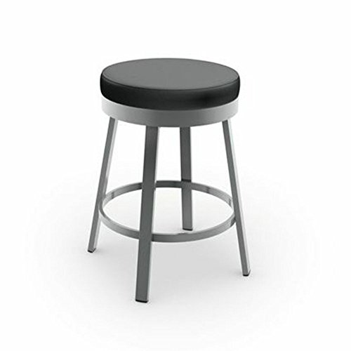 Amisco Clock Swivel Metal Counter Stool, 26-Inch, Grey Metal and Mat Charcoal Black -