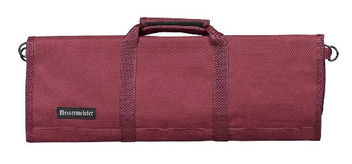 Messermeister 12-Pocket Heavy Duty Nylon Padded Knife Roll, Luggage Grade and Water Resistant, - Burgundy Large Place Knife