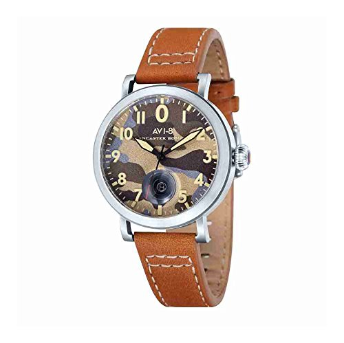 AVI-8 AV-4020-08 Mens Lancaster Bomber Tan Leather Strap Watch