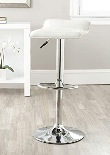 Safavieh Home Collection Kemonti White Adjustable Swivel Gas Lift 22.4-30.9-inch Bar Stool