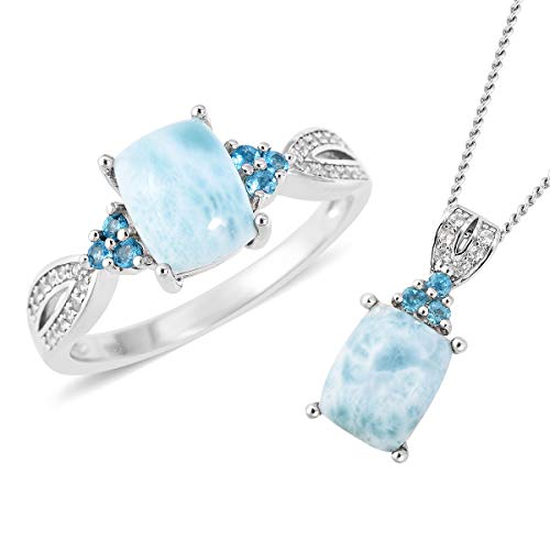 Shop LC Delivering Joy 925 Sterling Silver Larimar Ring Size 6 and Chain Pendant Necklace Jewelry Set for Women 18