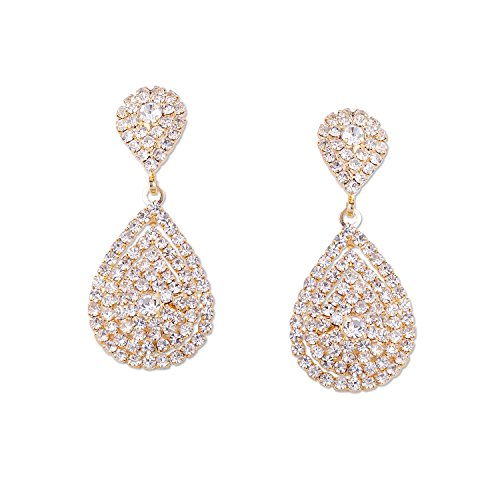 [Wedding Earrings Gold Plating Teardrop Dangle Earrings] (Gold Dangle Earrings)